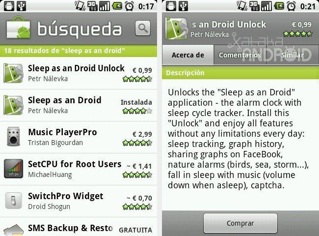 Buscando una aplicación en el Android Market