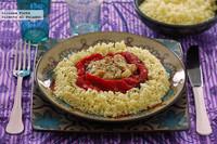 Cuscús al azafrán con berenjena y pimiento asados. Receta vegetariana