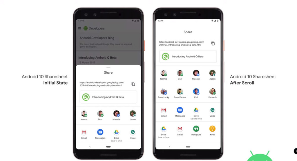 Google boasts speed in the Share menu in Android-10