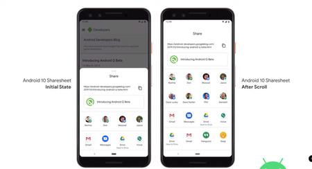 Google presume de velocidad en el menú Compartir en Android 10