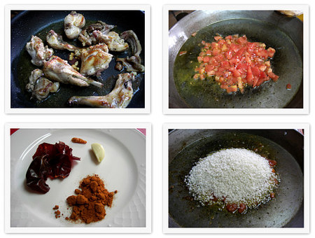 Arroz picante con conejo. Collage