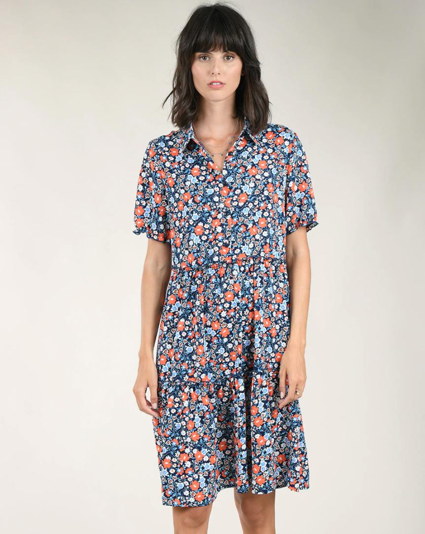 Vestido camisero de manga corta con estampado floral