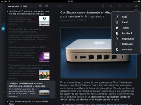 MobileRSS, opciones para compartir información