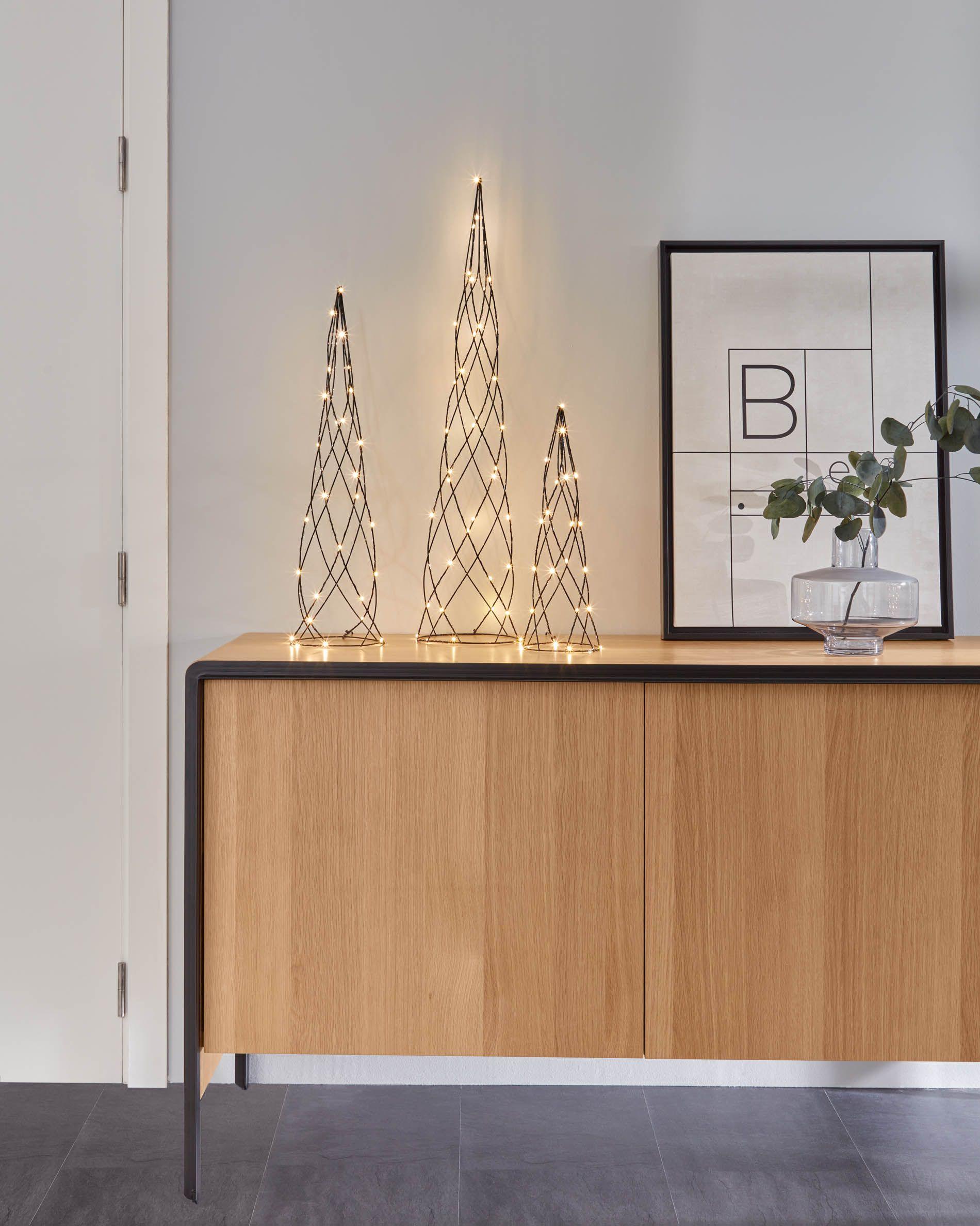 Set de tres árboles de Navidad luminosos