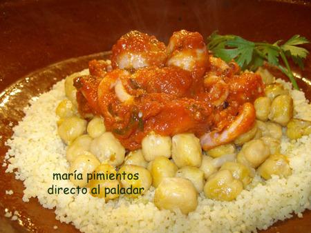 Cous cous con garbanzos y calamares en salsa de tomate. Receta