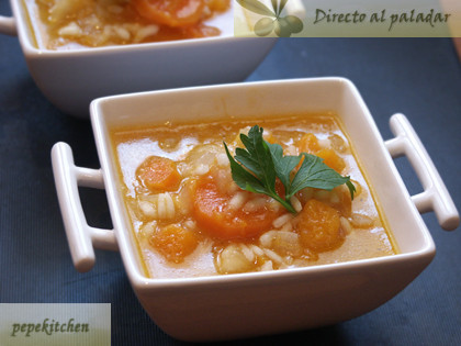 Menestra de arroz con zanahoria y calabaza. Receta