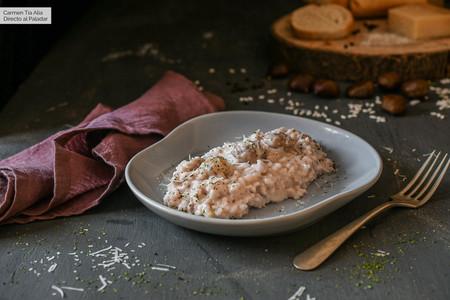 Arroz cremoso de cebolla morada, castañas y parmesano