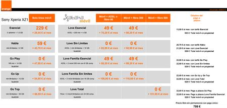 Precios Sony Xperia Xz1 Con Tarifas Orange