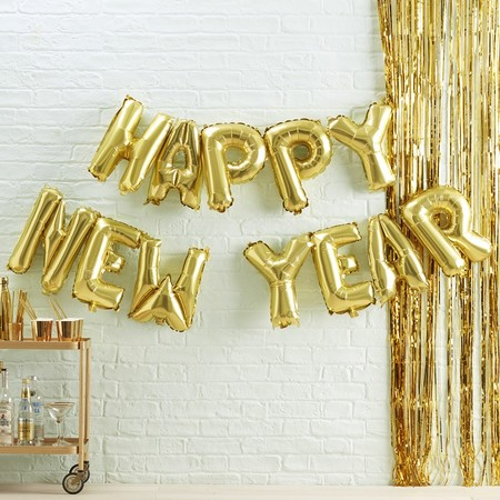 Gold Happy New Year Balloon Bunting Metallic Star
