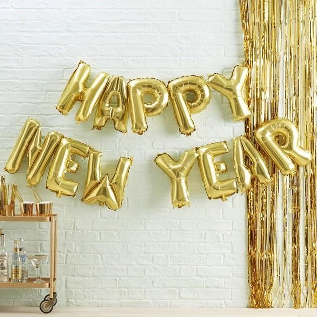 Gold Happy New Year Balloon Bunting Metallic Star