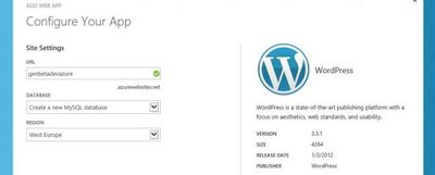 WebSites en Azure, un WordPress en la Nube