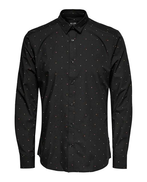 Camisa de popelín de hombre slim estampada negra