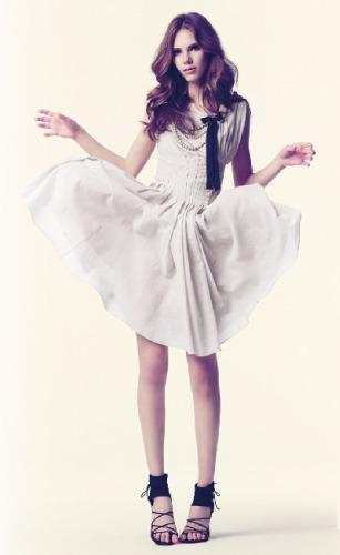 vestido crema hoss