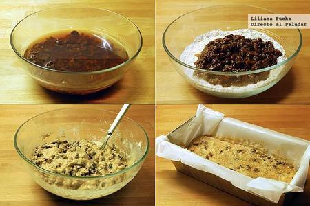 Plum cake de mezcla de pasas al té. Receta. Pasos