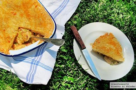 Pastel de pollo, puerros y jamón. Receta