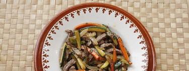 Salteado de verduras y ternera, receta fácil, rápida y saludable