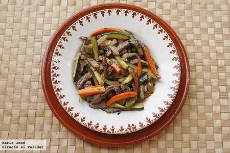 Salteado de verduras y ternera. Receta