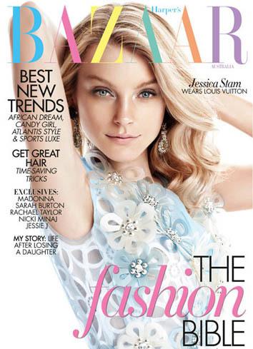 Jessica Stam en la portada de Harper's Bazaar Australia: dos al precio de uno