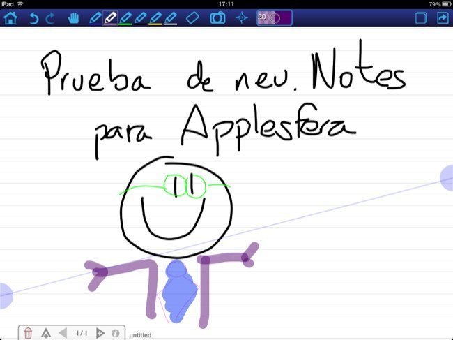 neu.Notes, vista general con la protección de palma activada