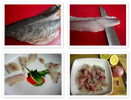 Ceviche peruano de corvina. Collage