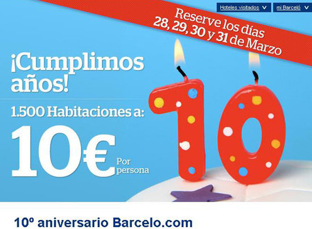 Los Hoteles Barceló celebran su décimo aniversario ofreciendo habitaciones a 10 euros