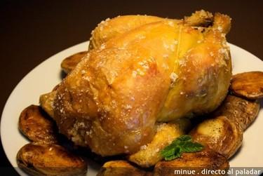 Pollo de corral a la sal. Receta