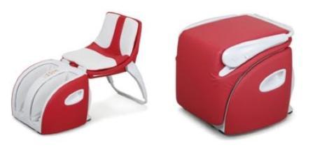 Masajea tus pies en una cómoda silla