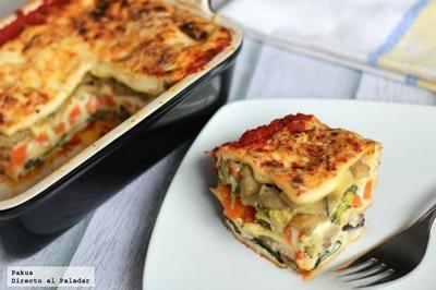 Receta de lasaña vegetariana de verduras