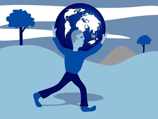 Hombre sujetando la Tierra.