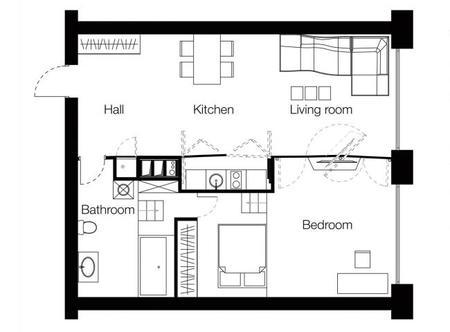 Un muro polifacético para organizar un apartamento - 5