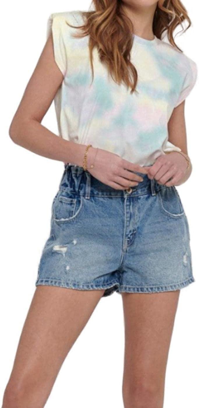 Only Onlamy Paddedshoulder Tie Dye S/L Dnmtee Camiseta para Mujer
