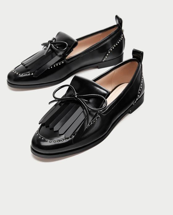 zapatos zara negros total black planos mocasines