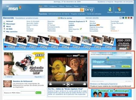 POrtal de MSN con el banner de Bingger