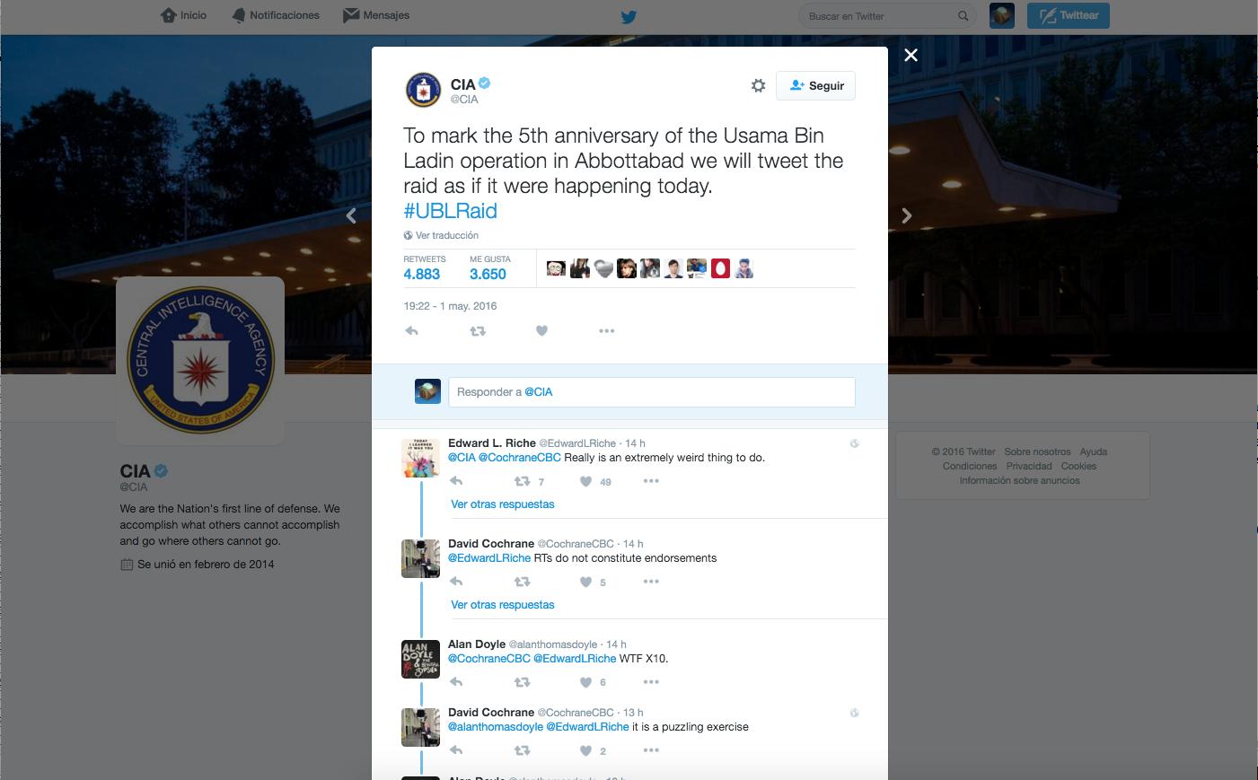 La CIA cuenta en Twitter cómo abatió a Bin Laden