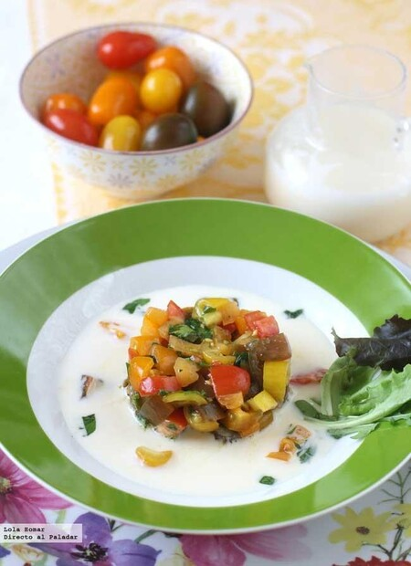 Crema de mozzarella al huevo con tartar de tomate, receta