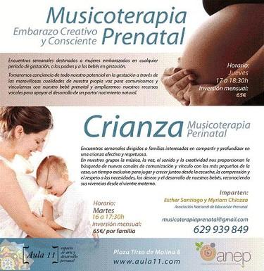 Musicoterapia prenatal y de crianza en Madrid