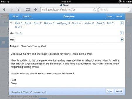 Gmail mejora su interfaz para el iPad imitando la aplicación nativa del dispositivo