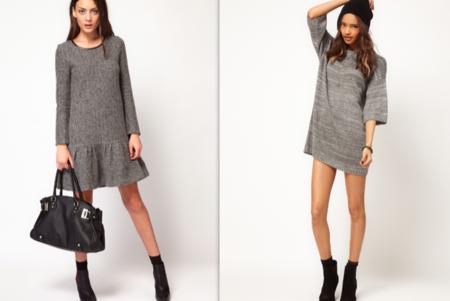 Vestido largo gris de punto