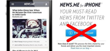 Otra víctima de la API de Twitter: la aplicación móvil de News.me se retira de la App Store