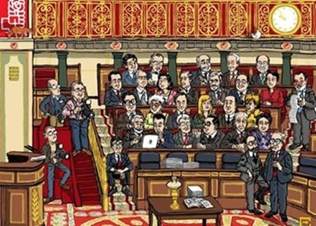 El PSOE del Congreso caricaturiza a Zapatero recibiendo información digital de Pablo Iglesias
