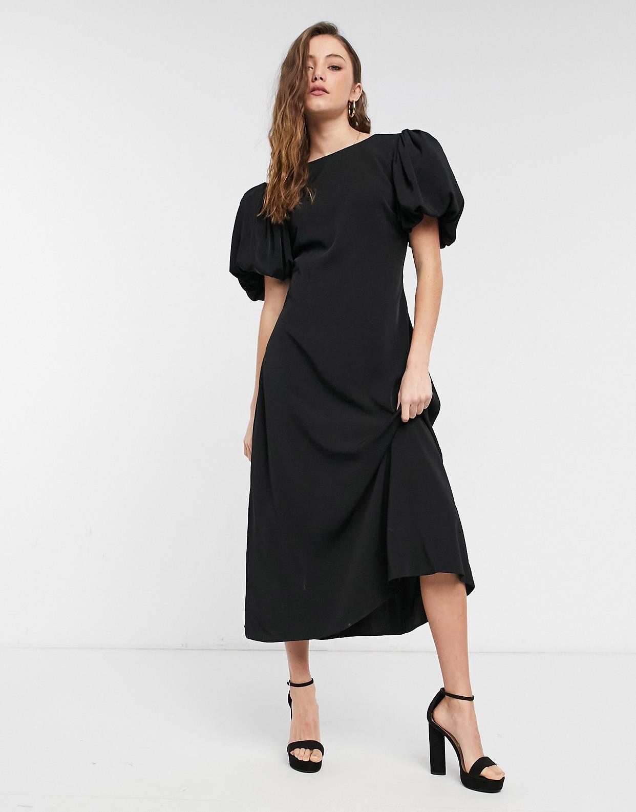 Vestido midi negro de NA-KD