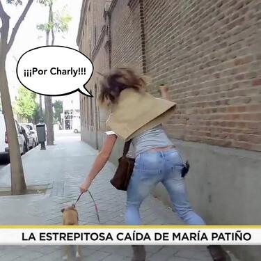 La brutal caída de boca de María Patiño mientras paseaba a su perra con la bolsa de caca en la mano
