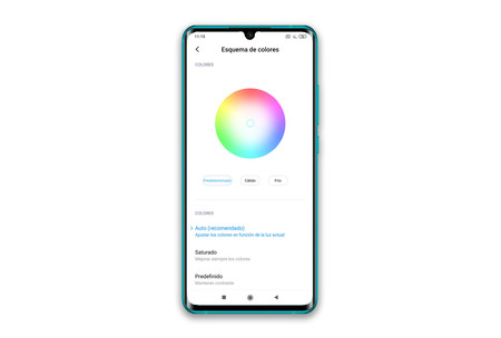 Xiaomi Mi Note 10 Ajustes Pantalla Color
