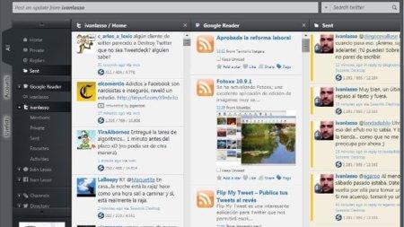 Seesmic Desktop 2 en funcionamiento, con el plugin de Google Reader