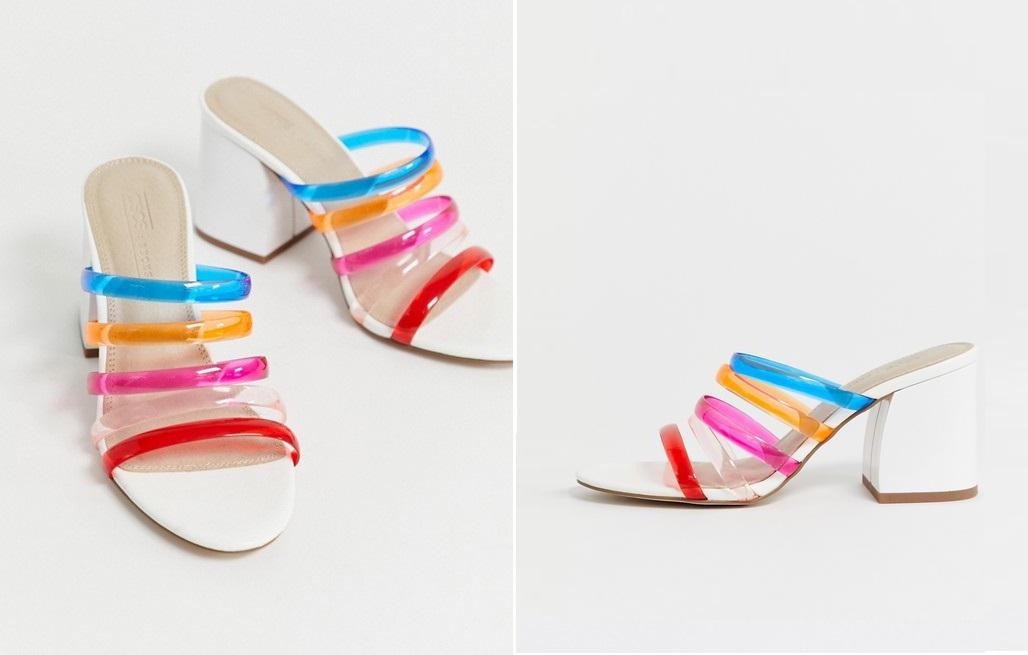 Sandalias arcoíris con tira de plástico transparente