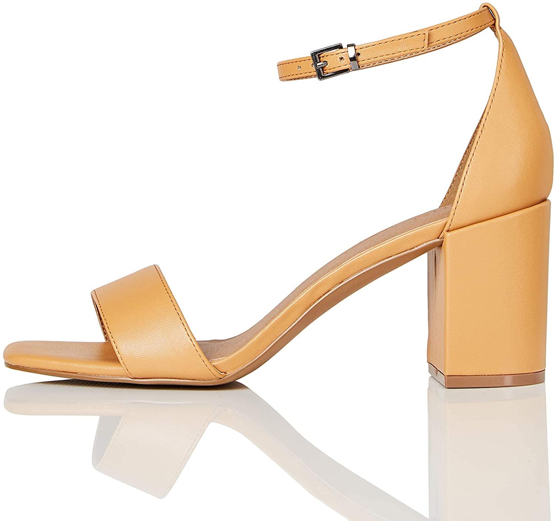 Marca Amazon - find. Zapatos con tacon y correa de tobillo Mujer