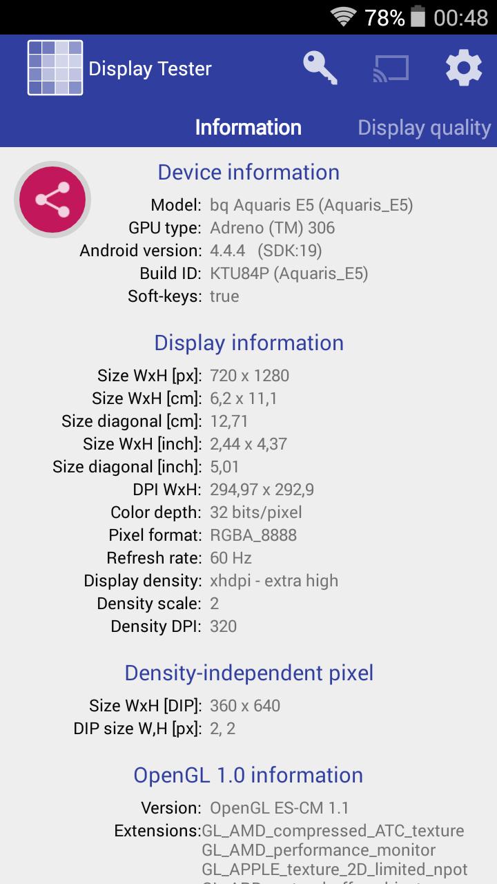 Benchmarks Aquaris E5 4G