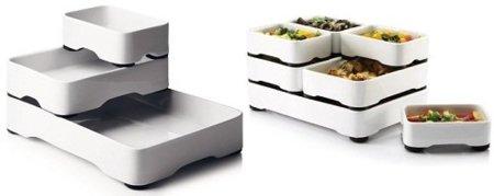 Platos apilables para el horno, el refrigerador y la mesa