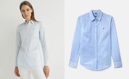 Camisa de hombre slim en lino de manga larga azul celeste
