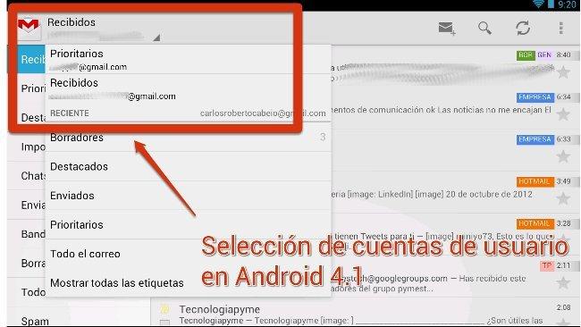 Selección de usuarios en Gmail con Android 4.1